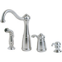 Price Pfister Marielle T26 - 4NSS One Handle Kitchen Faucet With Spray & Soap Dispenser - Stainless