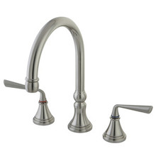 Kingston Brass Two Handle Widespread Kitchen Faucet - Satin Nickel KS2798ZLLS