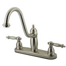 Kingston Brass Two Handle Widespread Kitchen Faucet - Satin Nickel KB7118TLLS