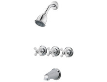 Price Pfister G01-8CPC Three Handle Tub & Shower Faucet-Chrome