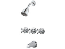Price Pfister G01-8CBC0 Three Handle Tub & Shower Faucet-Chrome