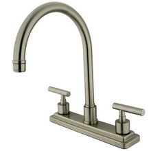 Kingston Brass Two Handle Widespread Kitchen Faucet - Satin Nickel KS8798CMLLS
