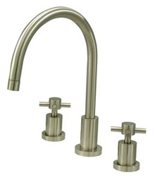 Kingston Brass Two Handle Widespread Kitchen Faucet - Satin Nickel KS8728DXLS