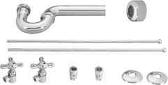 Westbrass D1838L 07 Lavatory Supply Kit & P Trap - Satin Nickel