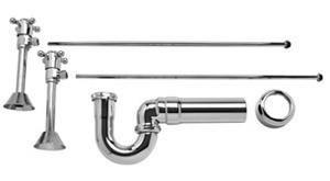 Mountain Plumbing MT8120X-NL-PVD Brass Lav Sweat Valve  Supply Kits W/New England/ Massachusetts P-Trap - Polished Brass
