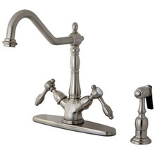 Kingston Brass Two Handle Single Hole Kitchen Faucet & Brass Side Spray - Satin Nickel