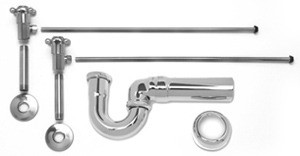 Mountain Plumbing MT3046-NL/PN Lav Sweat Valve  Supply Kits W/New England/ Massachusetts P-Trap -  Polished Nickel