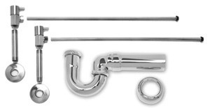 Mountain Plumbing MT3045-NL/SC Lav Sweat Valve  Supply Kits W/New England/ Massachusetts P-Trap -  Satin Chrome