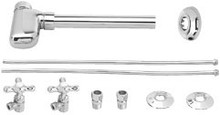 Westbrass D1938L 07 Lavatory Supply Kit with Decorative Trap - Satin Nickel