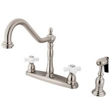 Kingston Brass Two Handle Kitchen Faucet & Brass Side Spray - Satin Nickel KB1758PXBS