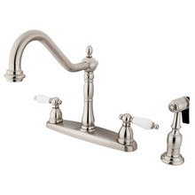 Kingston Brass Two Handle Kitchen Faucet & Brass Side Spray - Satin Nickel KB1758PLBS
