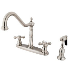 Kingston Brass Two Handle Kitchen Faucet & Brass Side Spray - Satin Nickel KB1758AXBS