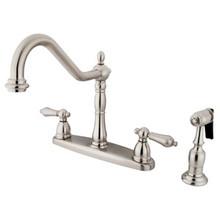 Kingston Brass Two Handle Kitchen Faucet & Brass Side Spray - Satin Nickel KB1758ALBS