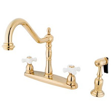 Kingston Brass Two Handle Kitchen Faucet & Brass Side Spray - Polished Brass KB1752PXBS