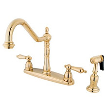 Kingston Brass Two Handle Kitchen Faucet & Brass Side Spray - Polished Brass