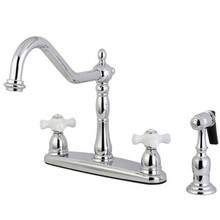 Kingston Brass Two Handle Kitchen Faucet & Brass Side Spray - Polished Chrome KB1751PXBS