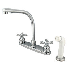 Kingston Brass Two Handle High Arch Kitchen Faucet Faucet & White Side Spray - Polished Chrome