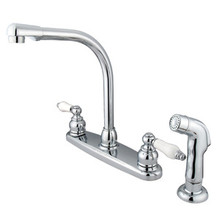 Kingston Brass Two Handle High Arch Kitchen Faucet & Non-Metallic Side Spray - Polished Chrome KB711SP