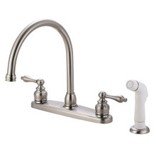 Kingston Brass Two Handle Goose Neck Kitchen Faucet Faucet & White Side Spray - Satin Nickel KB728AL