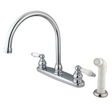 Kingston Brass Two Handle Goose Neck Kitchen Faucet Faucet & White Side Spray - Polished Chrome