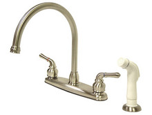 Kingston Brass Two Handle Goose Neck Kitchen Faucet & White Side Spray - Satin Nickel