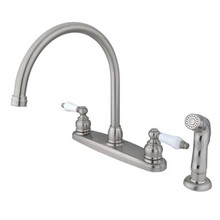 Kingston Brass Two Handle Goose Neck Kitchen Faucet & Side Spray - Satin Nickel KB728SP