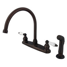 Kingston Brass Two Handle Goose Neck Kitchen Faucet & Side Spray - Oil Rubbed Bronze KB725SP