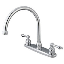 Kingston Brass Two Handle Goose Neck Kitchen Faucet - Polished Chrome