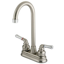 "Kingston Brass Two Handle 4"" Centerset High-Arch Bar Faucet - Satin Nickel/Polished Chrome"