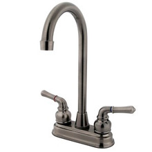 "Kingston Brass Two Handle 4"" Centerset High-Arch Bar Faucet - Vintage Nickel"