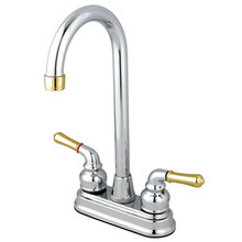 "Kingston Brass Two Handle 4"" Centerset High-Arch Bar Faucet - Polished Chrome/Polished Brass"