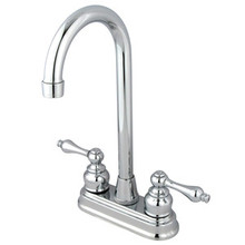 "Kingston Brass Two Handle 4"" Centerset High-Arch Bar Faucet - Polished Chrome KB491AL"