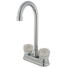 "Kingston Brass Two Handle 4"" Centerset High-Arch Bar Faucet - Polished Chrome KB491AC"