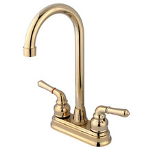 "Kingston Brass Two Handle 4"" Centerset High-Arch Bar Faucet - Polished Brass"