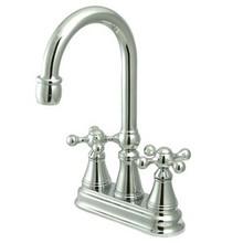 "Kingston Brass Two Handle 4"" Centerset Bar Faucet without Pop-Up Rod - Polished Chrome KS2491KX"
