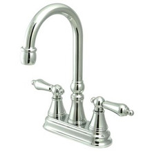 "Kingston Brass Two Handle 4"" Centerset Bar Faucet without Pop-Up Rod - Polished Chrome KS2491AL"