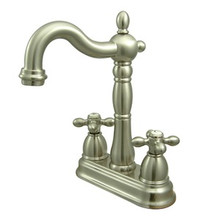 "Kingston Brass Two Handle 4"" Centerset Bar Faucet without Pop-Up Rod - Satin Nickel"