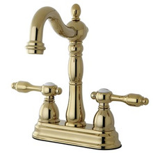 "Kingston Brass Two Handle 4"" Centerset Bar Faucet without Pop-Up Rod - Polished Brass KB1492TAL"