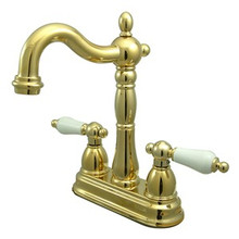 "Kingston Brass Two Handle 4"" Centerset Bar Faucet without Pop-Up Rod - Polished Brass KB1492PL"