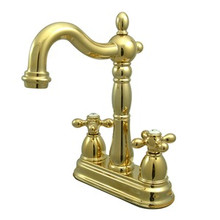 "Kingston Brass Two Handle 4"" Centerset Bar Faucet without Pop-Up Rod - Polished Brass KB1492AX"