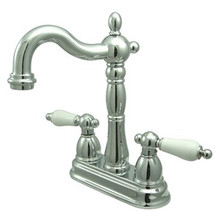 "Kingston Brass Two Handle 4"" Centerset Bar Faucet without Pop-Up Rod - Polished Chrome KB1491PL"
