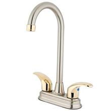"Kingston Brass Two Handle 4"" Centerset Bar Faucet - Satin Nickel/Polished Brass"