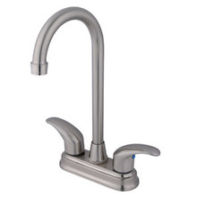 "Kingston Brass Two Handle 4"" Centerset Bar Faucet - Satin Nickel KB6498LL"