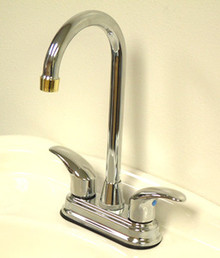 """Kingston Brass Two Handle 4"""" Centerset Bar Faucet - Polished Chrome/Polished Brass"""
