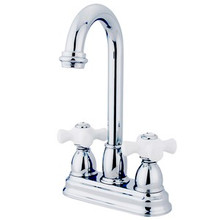 "Kingston Brass Two Handle 4"" Centerset Bar Faucet - Polished Chrome KB3491PX"