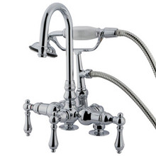 "Kingston Brass 3-3/8"" Deck Mount Clawfoot Tub Filler Faucet with Hand Shower - Polished Chrome"