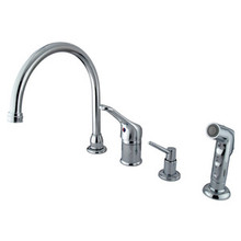 Kingston Brass Single Loop Handle Kitchen Faucet with Soap Dispenser & Side Spray - Polished Chrome