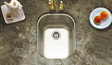 """Houzer Club CS-1407-1 13 5/8"""" x 17 3/16"""" x 7"""" Medium Undermount Bar-Prep Sink & Strainer - Stainless Steel"""
