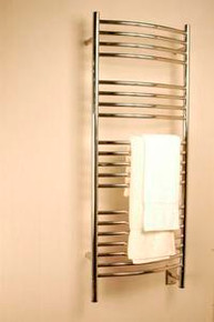"Amba Jeeves DCP-20 Model D 20-1/2"" W x 52-3/4"" H Curved Electric Heated Towel Warmer - Polished Stainless"