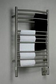"Amba Jeeves CCB-20 Model C 20-1/2"" W x 36"" H Curved Electric Heated Towel Warmer - Brushed Stainless"